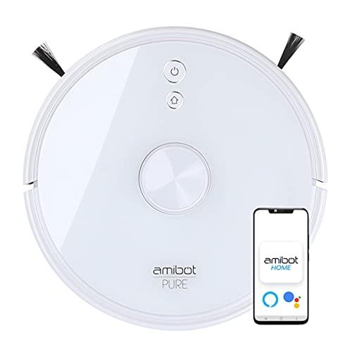 AMIBOT Pure Laser H2O - Robot Aspirador y friegasuelos Conectado por láser (iOS y Android), 3000Pa, 230min