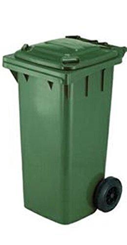 Bidone raccolta differenziata, contenitore da 120 litri colore verde a norma CE EN840 per la raccolta di strada. Bidoni rifiuti carrellati dotati di ruote e coperchio