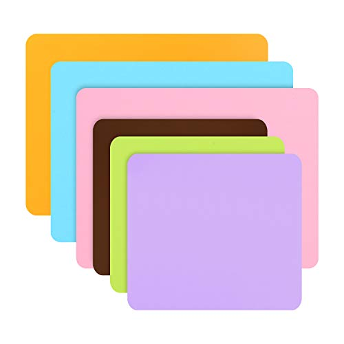 Gartful Silicone Sheets for Craft, Nail Art, Resin Jewelry Casting Molds, Multipurpose Mat, Table Protector, Placemat, Orange Pink Blue & Green Purple Brown, Set of 6 (15.7 x 11.8 & 11.4 x 10.2 inch)