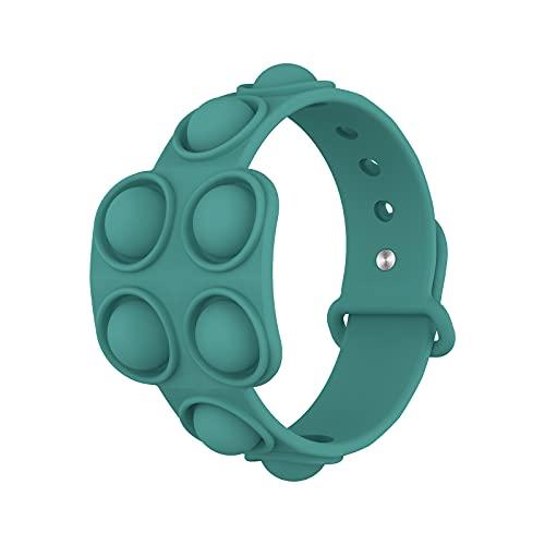Pulseras de silicona de descompresión, alivio del estrés, pulseras de goma de burbujas – Presione las pulseras de burbujas para niños adultos juguetes sensoriales Fidget juguete verde