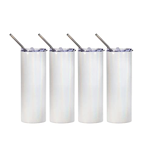 PYD Life Sublimation Glitter Tumbler Rainbow White Blank Straight 20 OZ Skinny Tumbler Cups with Metal Straw,Stainless Steel Coffee Tumbler Cups,Sublimation Mugs Bottles 4 Pack
