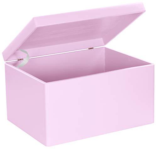 LAUBLUST Große Holzkiste mit Deckel - 40x30x24cm, Rosa, FSC® | Allzweck-Kiste aus Holz - Aufbewahrungskiste | Spielzeug-Truhe | Erinnerungsbox | Geschenk-Verpackung | Deko-Kasten zum Basteln