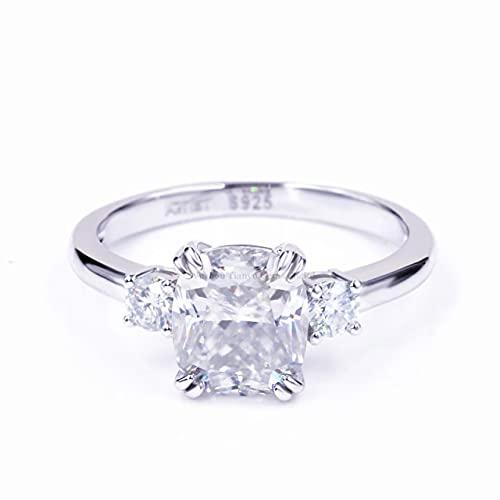 JIUXIAO Anillo de Diamantes de Laboratorio de Compromiso con cojín de Gemas, Anillos de Diamantes de Laboratorio de Plata, Color de Piedra Blanca, Verde y Azul, joyería para Mujeres
