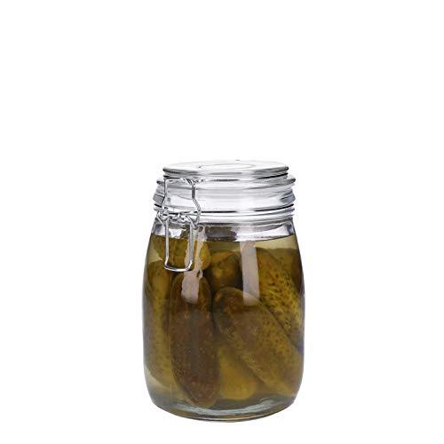 Vorratsdosen aus Glas mit Bügelverschluss, Vorratsgläser, Glasbehälter | Runde bzw. Ovale Form | 500 ml - 3100 ml | luftdicht, auslaufsicher, pflegleicht (1000 ml)