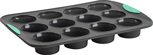 Trudeau Structured Silicone Muffin Pan, 12 Cup, Grey/Mint