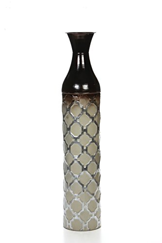 Hosley Metal Brown Grey Tones Moroccan Embossed Floor Vase 28.5 Inch High. Great Vase for Dried Floral Arrangements Craft Projects Ideal Gift for Wedding Special Occasion Home Office P2