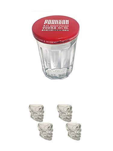 Partisan Vodka 40 Prozent 0,1 Liter + Wodka Totenkopf Shotglas 2 Stück + Wodka Totenkopf Shotglas 2 Stück