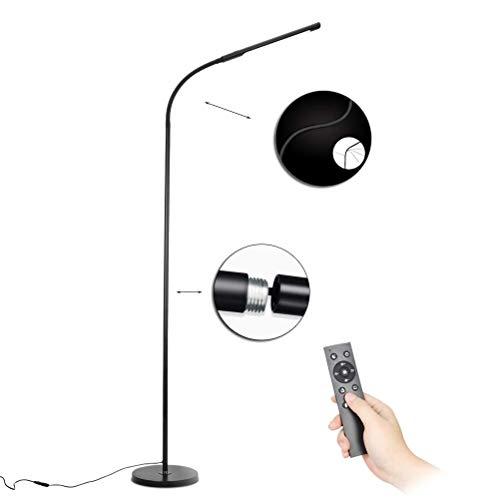 SKSNB Lámpara de pie para Sala de Estar LED Regulable, 12w Lámpara de pie Moderna Negra con Control Remoto, Lámpara de pie para Lectura con Cuello de Cisne, Control táctil, Lámpara de no