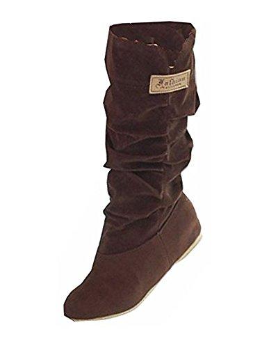Minetom Damen Herbst Winter Elegant Beiläufig Flache Schuhe Knie Stiefel Slouchy Schneestiefel Süß Lange Stiefel Braun EU 40
