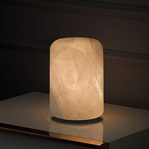 Natural Calcite Table Lamp, Handcrafted Solid Calcite Table Lamp for Living Room, Bedside Lamp with Unique Crystal Texture, Dimmable LED Lamp by Phiestina, UL Complied, Cylinder, Natural White