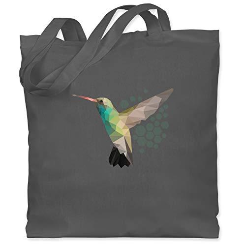 Shirtracer Vögel - Colibri - Unisize - Dunkelgrau - jutebeutel - WM101 - Stoffbeutel aus Baumwolle Jutebeutel lange Henkel
