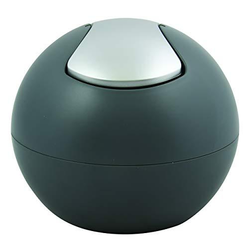 Spirella Kosmetikeimer 1 Liter Abfalleimer Schwingdeckeleimer Tischabfalleimer Bowl Grau matt