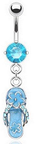 Piercing Nombril calzado Tong ILEA, color azul