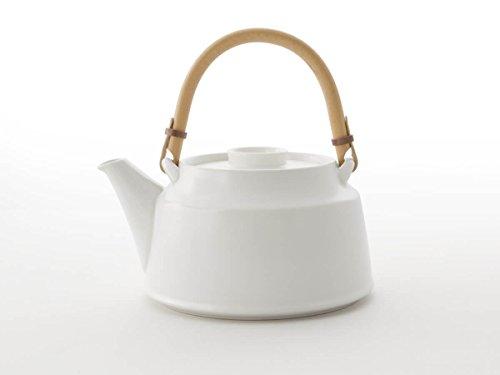 Japanische Teekanne, weiß T.Kato, mit Sieb-Einsatz. Modern, Design Tee-Geschirr, Keramik, glasiertes Steingut, von Hand gefertigt bei ceramic japan