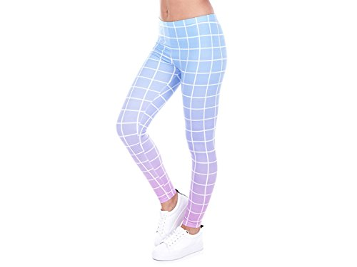 Alsino Damen Gym Leggings mit All-Over-Print Motiven - Größe: One Size - Stretch fähig, Muster Blau Rosa (LEG-113)
