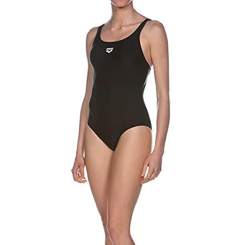 ARENA Dynamo Costume Intero Donna, Costume da Bagno Sportivo in Tessuto MaxFit ad Asciugatura Rapida Resistente a Cloro e Sale, Protezione UV UPF 50+, 42 , Nero (Black)