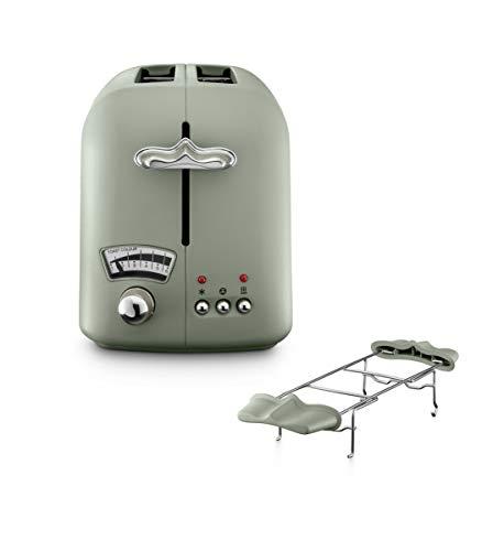 De'Longhi CTO21.GR Argento Flora Toaster 2 Schlitz Toaster Brötchenaufsatz Bräunungsgrad ohne Wasserkocher Peppermint Green