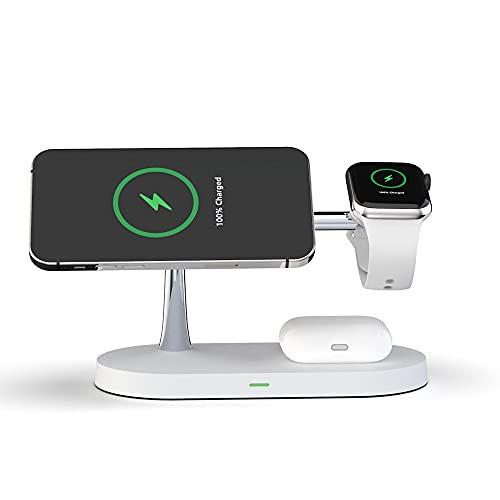 Estación de carga inalámbrica 3 en 1 para iPhone 12/11/X/XS Max, One Plus, Samsung, Apple Watch Series, AirPods Pro/2 iPhone Docking Station Cargador (Color: Blanco)