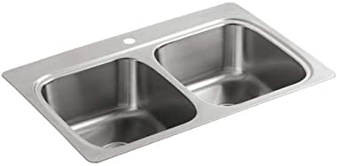 "KOHLER 5267-1-NA Verse 33"" X 22"" X 9-1/4"" Top-Mount Double-Equal Bowl Kitchen Sink With Single Faucet Hole, Stainless Steel"