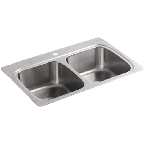 """KOHLER 5267-1-NA Verse 33"""" X 22"""" X 9-1/4"""" Top-Mount Double-Equal Bowl Kitchen Sink With Single Faucet Hole, Stainless Steel"""