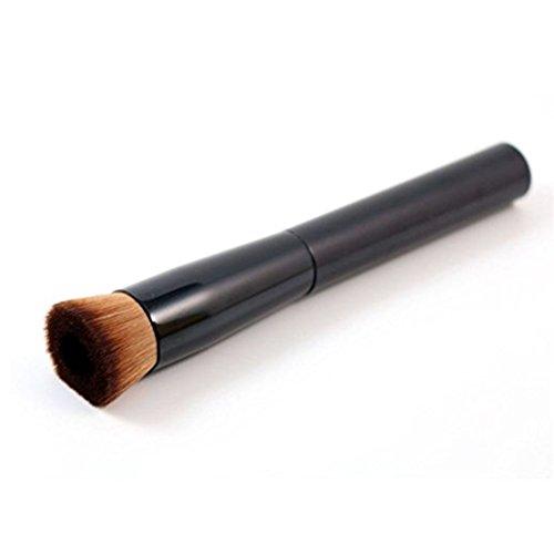 Lurrose 2pcs fond de teint liquide Kabuki pinceau de maquillage visage concave brosses de maquillage cosmétiques pour femmes filles (noir)