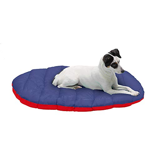 Furhaven Pet Dog Bed - Trail Pup Packable Outdoor Travel Pet Camping Pillow Bed Stuff Sack with Bag for Dogs and Cats, Flame Red and True Blue, Small