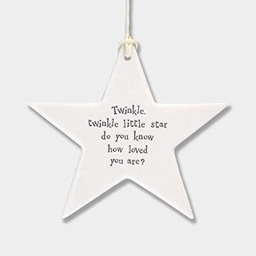East of India Porcelain Hanging Star Home Wall Decor Twinkle Twinkle Little Star, Do You Know How Loved You Are?