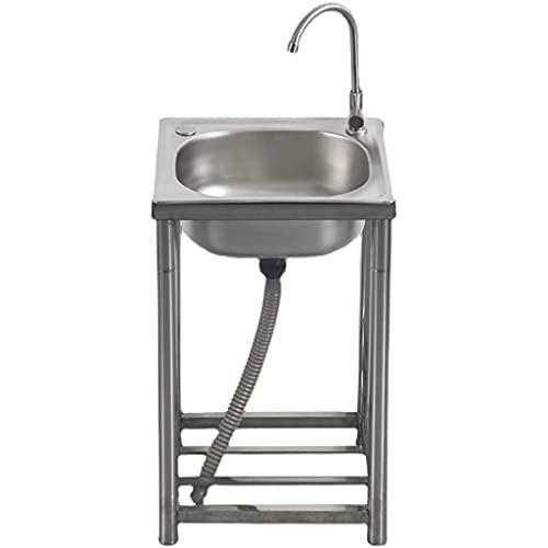 AGGF Fregadero de un Solo baño de Acero Inoxidable, Lavabo Simple con Soporte, Fregadero para lavavajillas doméstico, Fregadero Comercial Simple, Fregadero de Catering, Fregadero Industrial, 5