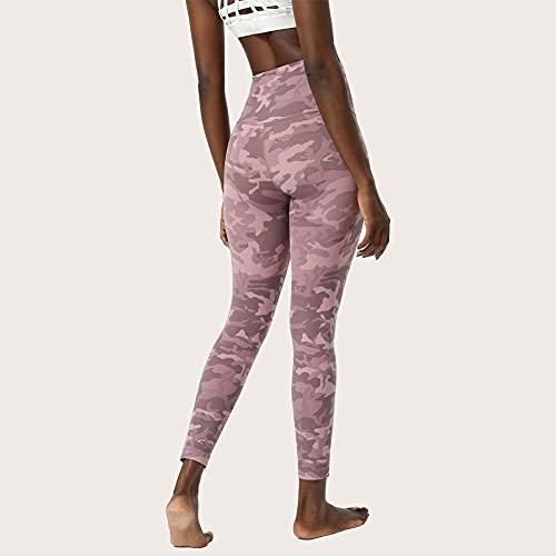 ArcherWlh Leggings Mujer Push Up,Camuflaje Europeo y Americano Yoga Nueve Pantalones Mujeres de Doble Cara Estampado Desnudo, Pantalones de Yoga de Cintura Alta, Pantalones de Fitness-Rosa_S / 4