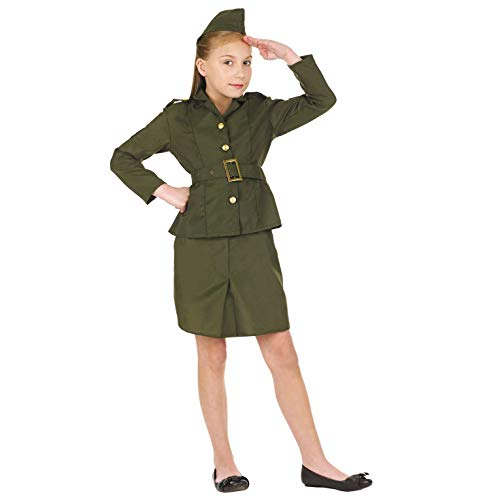 Fun Shack Le Déguisement Femme Militaire Vert pour Garçons et Filles de Medium