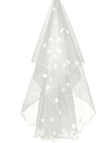 FakeFace FakeFace 3m Lang Brautschleier Kathedrale Tüll Stickerei Braut Hochzeit Schleier Blumen Deko zum Brautkleid Beige