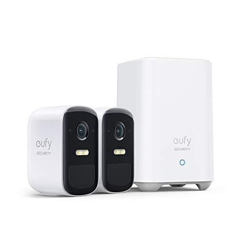 eufy Security eufyCam 2C Pro kit de 2 cámaras, Cámara Vigilancia Wifi Exterior 2K, Cámara de seguridad doméstica inalámbrica, 180 días de batería, Compatible con HomeKit, IP67, Visión nocturna