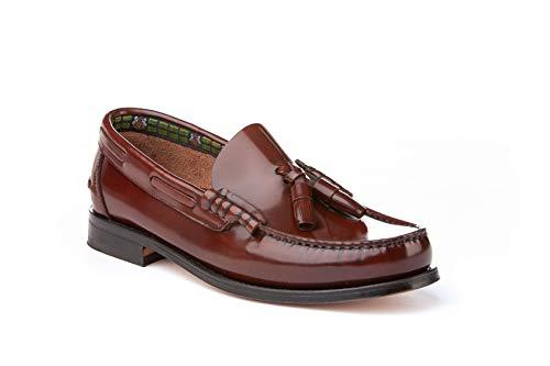 Mocasines con borlas para Hombre. Zapatos Castellanos Fabricados con Piel bovina. Disponibles Desde la Talla 40 hasta la Talla 45 - A&L Shoes Modelo 476 Color Cuero.