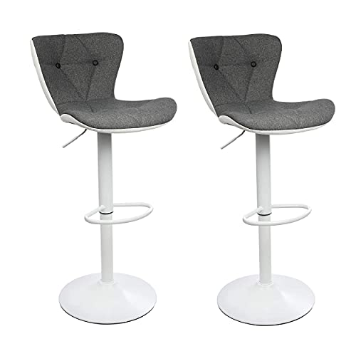 Halter Barstool, Adjustable Height Stool Chairs, Counter Height Swivel Bar Stools for Kitchen Island, Bar Chair, Counter Stool, Barstool Set of 2, Gray White