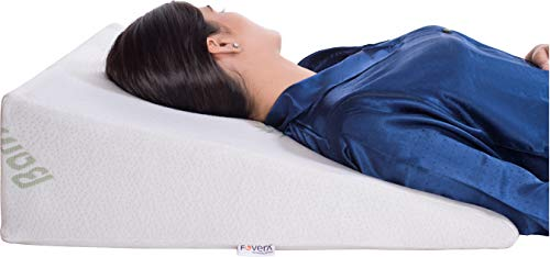 FOVERA Multi Purpose Bed Wedge Pillow - Memory Foam Top - Provides Relief from Acid Reflux, Snoring, Post Surgery (White Bamboo, 11 Inch)