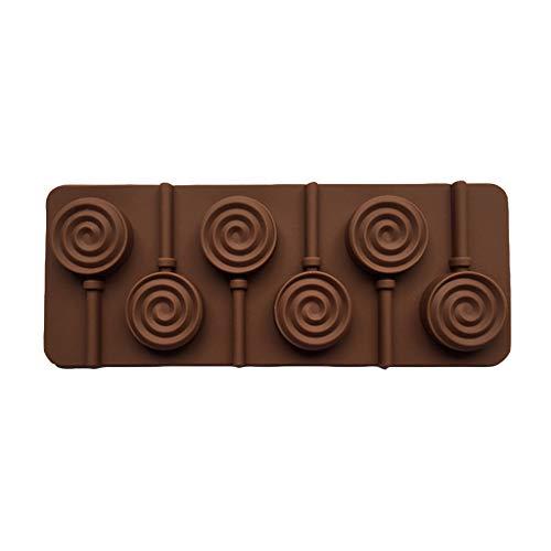 BUIDI 6 cavités Bricolage Rond en Spirale Tourbillon Forme 3D Silicone Sucette Moule Bonbons Chocolat Gomme Fondant Moule ustensiles de Cuisson Outil de Cuisson Plateau Brun Bonbons Moule Brun