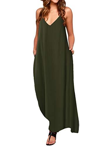 ACHIOOWA Mujer Vestido Elegante Playa Casual Dress Cuello V Sin Manga Túnica Sin Hombros Escote Punto Bolsillo Caftán Oversize Falda Larga Verde M