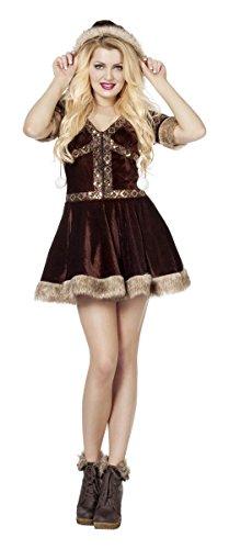 Damen Kostüm Eskimo Kleid in braun Inuit Karneval Fasching Gr.40