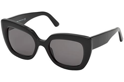 Balenciaga BA0130 01A 52 Gafas de sol, Negro (Nero Lucido/Fumo), Unisex Adulto