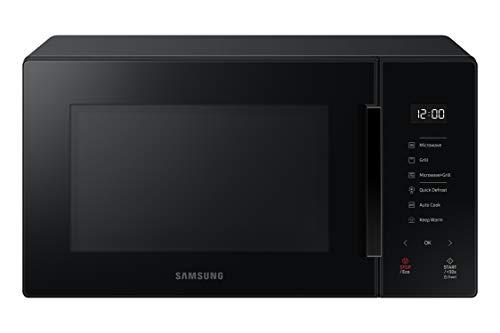 Samsung MG23T5018AK Four micro-ondes, 23 litres, 1100 W, cuisson automatique et home Dessert, verre design, noir