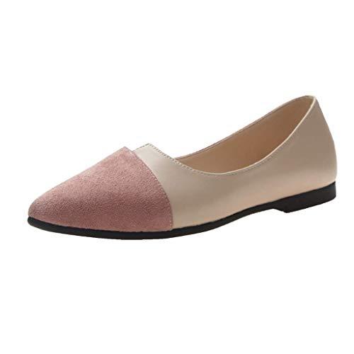 HUADUO Ballet Flat - Zapatillas de Ballet clásicas, Suaves, sólidas y Puntiagudas, cómodas y sin Cordones para Mujer