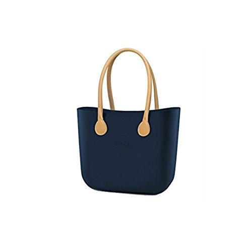 O Bag, Tasche, groß, blau mit Griffen in der Farbe beige, mit Beutel, aus Kunstleder