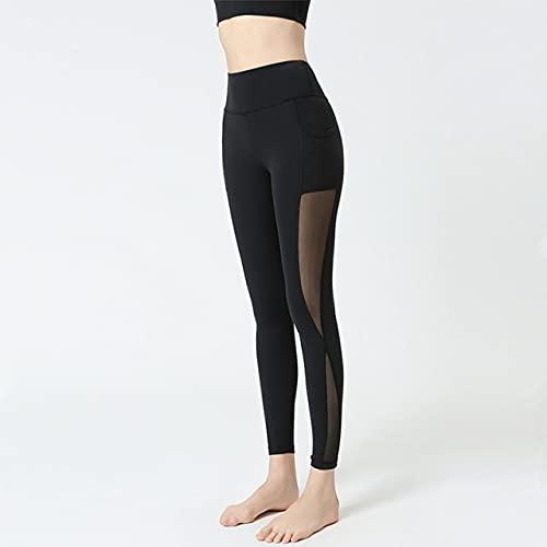 CYMTZ Mallas Deportivas De Cintura Alta para Mujer, Pantalón De Yoga De Malla, Pantalones para Correr De Secado Rápido, Mallas Elásticas De Entrenamiento para Gimnasio XL Negro