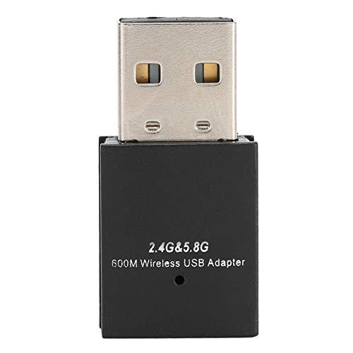 Adaptador USB WiFi para PC, Dongle USB 2.0 inalámbrico 600mbps Receptor WIFI de tarjeta de red USB de banda dual 2.4G / 5.8G para computadora portátil de escritorio Win10 / 8 / 8.1 / 7 / XP / Vista /