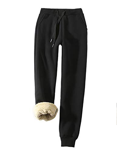 Yeokou Women's Warm Sherpa Lined Athletic Sweatpants Jogger Fleece Pants (X-Large, Black)
