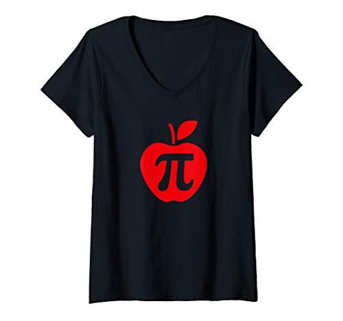 Womens Apple Pi Day Shirt, Funny Math Nerd Pie Teacher 3.14 Tshirt V-Neck T-Shirt