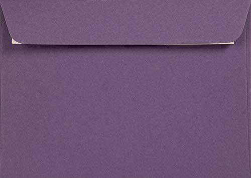 25 Violett DIN C6 Recycling-Briefumschläge ohne Fenster (114x162 mm) gerade Klappe haftklebend, Kreative Lavender, farbige Kuverts aus Recyclingpapier, bunte Umschläge Natur recycelt