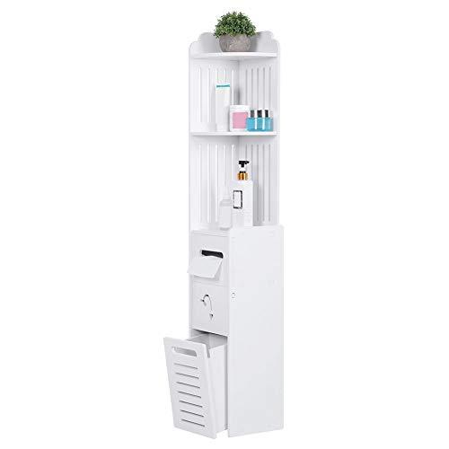 AYNEFY Badschrank Weiß Eckregal Schmal Hochschrank Modern Badregal Freistehend Toilettenschrank mit 3 offener Ablagen 2 Schubladen für Badezimmer Schlafzimmer Flur, 22 x 20 x 120cm