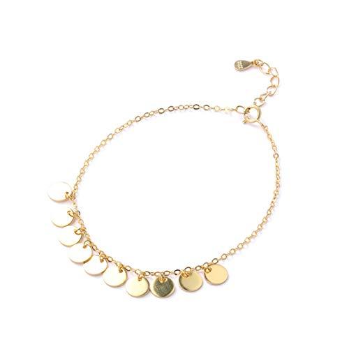 Daesar Damen Armband Silber 925 Klein Rund 4.3 MM Frauen Armband Gold 19 cm
