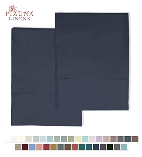 Pizuna Bettlaken-Set, Fadenzahl 400, 100% Baumwolle, Satin-Webgewebe, stilvoller Saum, bis zu 43 cm Tiefe Taschen, Fadenzahl 400 Queen Pillow Pair dunkelblau